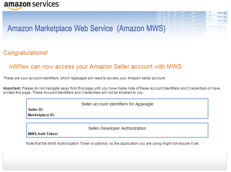 Amazon MWS Credentials for InfiPlex OMS